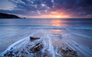 облака, природа, камни, закат, море, англия, залив алум, alum bay