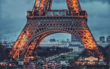 the evening, paris, backlight, france, eiffel tower