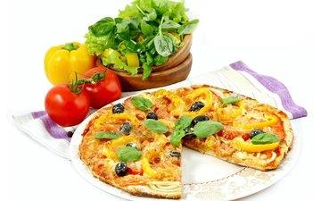 зелень, белый фон, овощи, тарелка, выпечка, помидоры, перец, пицца