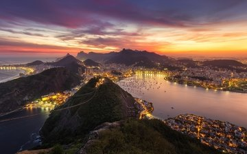 night, lights, mountains, sunset, panorama, the city, the ocean, brazil, rio de janeiro