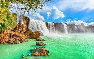the sky, clouds, stones, rock, waterfall, vietnam, sunny, dry nur waterfall