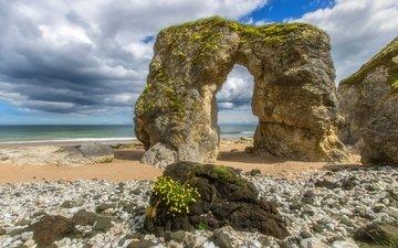 облака, скалы, берег, море, пляж, горизонт, побережье, ирландия