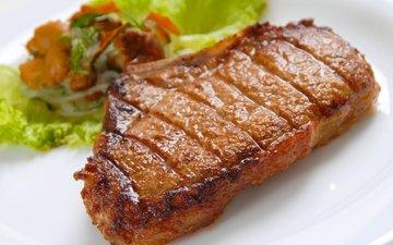 vegetables, meat, close-up, steak, juicy