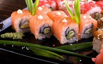 рис, суши, роллы, морепродукты, васаби, японская кухня, лосось
