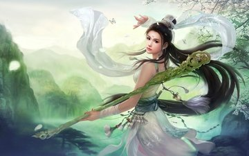 art, girl, butterfly, fantasy, the game, staff, asian
