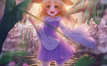 water, dress, blonde, loli, moriya suwako, touhou, l