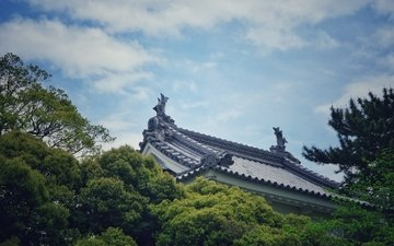 the sky, clouds, trees, roof, traditional building