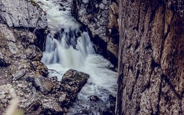 river, stones, waterfall, for
