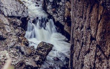 река, камни, водопад, течение