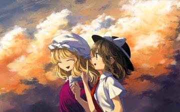облака, блондинка, улыбка, профиль, maribel han, тохо, usami renko
