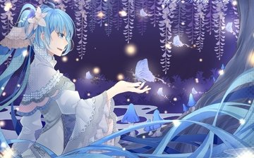 art, girl, background, smile, look, butterfly, anime, profile, vocaloid, hatsune miku