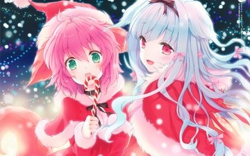 girls, lily, lollipop, christmas, visual novel, wanko to lily, wanko