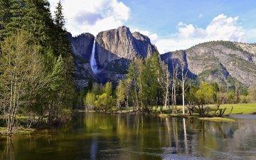 река, горы, природа, водопад, сша, калифорния, йосемити, йосе́митский национальный парк