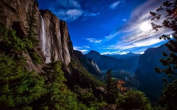 the sky, night, mountains, rocks, forest, waterfall, the moon, usa, yosemite national park