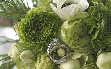 цветы, кольцо, букет, свадьба, праздник, ранункулюс