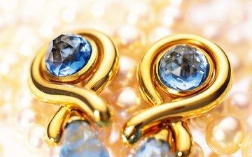 золото, жемчуг, сережки