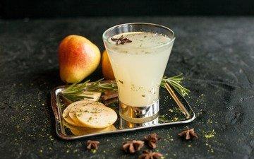 drink, fruit, pear, juice, rosemary, anise star