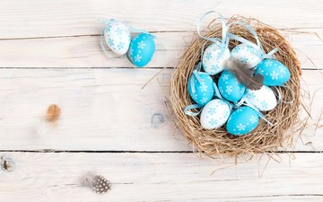 easter, basket, socket, the painted eggs, . spring