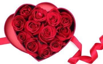 цветы, розы, сердечко, сердце, красные розы