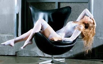girl, dress, pose, blonde, model, legs, stockings, chair, photoshoot, svetlana salikova