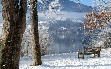 деревья, река, горы, снег, зима, скамейка