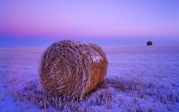 snow, sunset, field, hay, frost, usa, straw, stack, freezing, north dakota