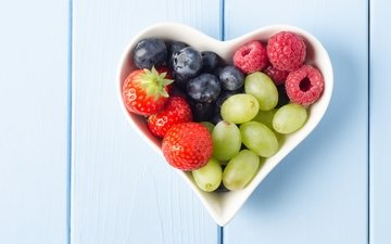grapes, raspberry, heart, strawberry, berries, blueberries