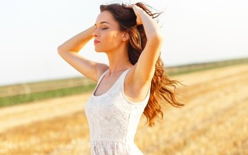the sun, girl, pose, field, makeup, hairstyle, white dress, is, brown hair, closed eyes