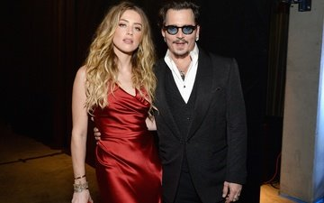 decoration, girl, dress, glasses, johnny depp, pair, male, amber heard
