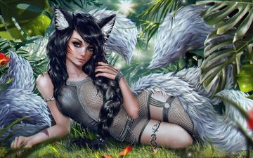 art, girl, elf, ahri, nine-tailed fox, league of legends