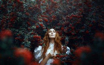 girl, berries, curls, closed eyes, ronny garcia