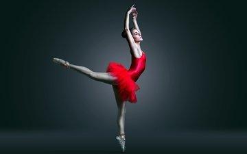 девушка, брюнетка, танец, балерина