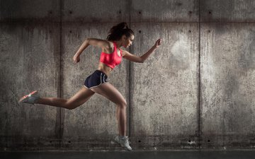 girl, brunette, sport, running