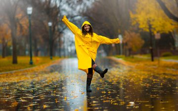 girl, mood, park, autumn, joy, rain, walk