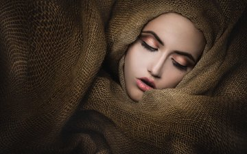 girl, fabric, face, burlap, closed eyes