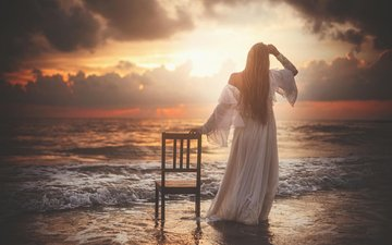 девушка, настроение, море, платье, рассвет, стул