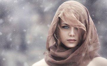 девушка, портрет, взгляд, волосы, лицо, платок, алессандро ди чикко