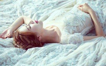 girl, model, the bride, brown hair, closed eyes