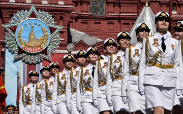 form, girls, victory day, in white, may 9, parade