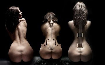 guitar, girls, silhouettes, musical instruments, cello, 3d