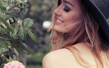 девушка, блондинка, модель, профиль, волосы, лицо, макияж, шляпка, ресницы