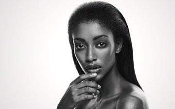 глаза, девушка, брюнетка, чёрно-белое, модель, волосы, губы, лицо, макияж