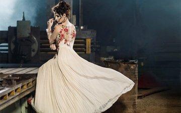 девушка, платье, модель, позирует