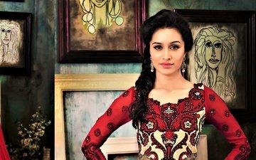 girl, dress, pose, brunette, model, lips, face, actress, celebrity, bollywood, shraddha kapoor, sraddha kapoor