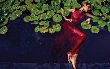 water, leaves, girl, model, red dress, lying, janina malinauskiene