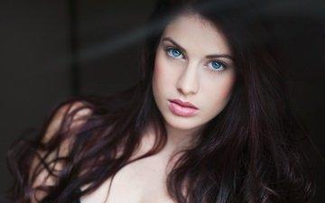girl, portrait, brunette, model, lips, face, blue eyes, lipstick, long hair
