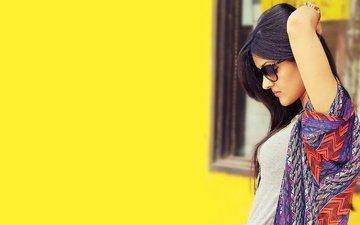 girl, pose, brunette, glasses, model, profile