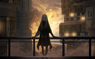облака, здания, velvet assassin, аниме девочка