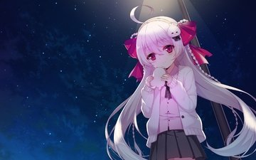 the sky, night, girl, anime, tape, loli, long hair, pink hair