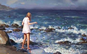 камни, волны, девушка, море, платье, лето, живопись
